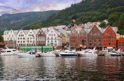 Famous Bryggen street in Bergen - Norway Stock Photography