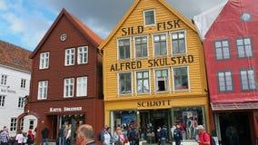 Famous Bryggen street Bergen Norway stock video