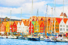 Famous Bryggen street in Bergen, Norway. Royalty Free Stock Image