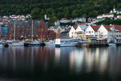 Famous Bryggen street with wooden colored houses in Bergen, Norway. Stock Photography