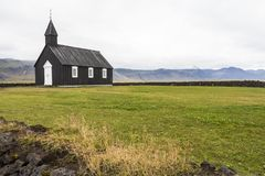 Famous Budhir black church on Snaefellsnes, Iceland stock image