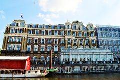 Famous building on Amstel river, Netherlands, Europe Royalty Free Stock Photography