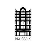 Famous building of Brussels in black silhouette style.  Royalty Free Stock Images
