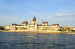 Famous building of Hungarian Parliament along the Danube River in Budapest. Royalty Free Stock Image