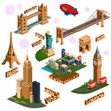 Famous building set Royalty Free Stock Photography