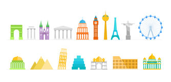 Famous buildings color silhouettes collection. Lineart illustrat Royalty Free Stock Images