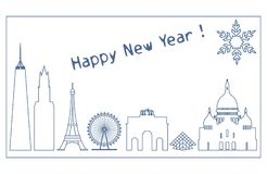 Famous buildings, constructions of countries. Famous buildings and constructions of different countries. New Year and Christmas greeting card Stock Photography
