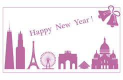 Famous buildings, constructions of countries. Famous buildings and constructions of different countries. New Year and Christmas greeting card Royalty Free Stock Photo