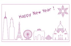 Famous buildings, constructions of countries. Famous buildings and constructions of different countries. New Year and Christmas greeting card Stock Photos