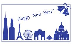 Famous buildings, constructions of countries. Famous buildings and constructions of different countries. New Year and Christmas greeting card Royalty Free Stock Image