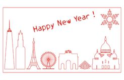 Famous buildings, constructions of countries. Famous buildings and constructions of different countries. New Year and Christmas greeting card Royalty Free Stock Photography