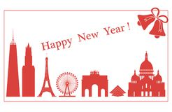 Famous buildings, constructions of countries. Famous buildings and constructions of different countries. New Year and Christmas greeting card Stock Photo