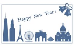 Famous buildings and constructions of different countries. New Year and Christmas greeting card. Vector. Famous buildings and constructions of different stock illustration