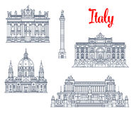 Famous buildings Italy architecture vector icons Stock Image