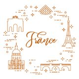 Famous buildings of Paris. Symbols and landmarks. Travel and leisure Royalty Free Stock Images