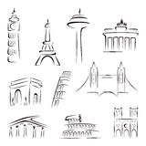 Famous buildings. Set of world most famous landmarks at sketch Stock Photography
