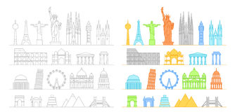 Famous buildings silhouettes collection. Lineart illustration royalty free illustration