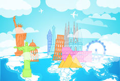 Famous buildings silhouettes on the Earth map. Lineart illustration stock illustration