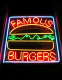 Famous Burger Neon Sign. Famous Burgers stock image