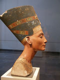 Famous bust of Nefertiti in Pergamon Museum. BERLIN - SEPTEMBER 2005: Famous bust of Queen Nefertiti in Berlin Pergamon Museum, September 4, 2005 in Berlin Royalty Free Stock Photos