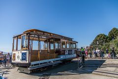 The famous Cable Car in San Francisco. SAN FRANCISCO ,CALIFORNIA,USA - MAY 1, 2015 : The famous Cable Car in San Francisco.It is the oldest mechanical public royalty free stock photography