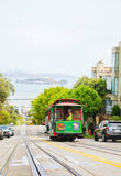 Famous cable car at a steep street Royalty Free Stock Photography