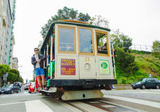 Famous cable car at a steep street Royalty Free Stock Photo