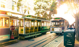 Famous Cable Cars at Powell & Market Station Turntable in San Francisco, California. Powell-Hyde line train. royalty free stock images