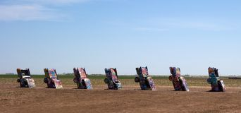 The famous cadillac ranch along route 66 Royalty Free Stock Images