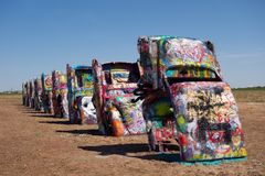 The famous cadillac ranch along route 66 Royalty Free Stock Photography