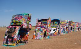 The famous cadillac ranch along route 66 Royalty Free Stock Image