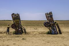 Cadillac Ranch, Amarillo Texas. Famous Cadillac Ranch, public art and sculpture installation created by Chip Lord, Hudson Marquez and Doug Michels near Amarillo Royalty Free Stock Images