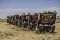 Cadillac Ranch, Amarillo Texas. Famous Cadillac Ranch, public art and sculpture installation created by Chip Lord, Hudson Marquez and Doug Michels near Amarillo Stock Image
