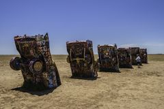 Cadillac Ranch, Amarillo Texas. Famous Cadillac Ranch, public art and sculpture installation created by Chip Lord, Hudson Marquez and Doug Michels near Amarillo Royalty Free Stock Photo