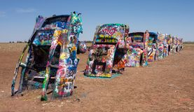 The famous cadillac ranch of texas Royalty Free Stock Photo