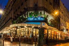 The famous cafe de Flore at night, Paris, France. Stock Image