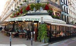 The famous cafe de Flore, Paris, France. Paris, France-December 05, 2016: The famous cafe de Flore decorated for Christmas located on Saint-Germain boulevard in stock photography