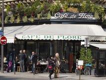 The famous cafe De Flore, Paris, France. Paris, France-February 27, 2016 : The cafe De Flore is one of the oldest and most prestigious cafe in Paris, located in stock photography