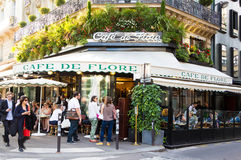 The famous cafe de Flore, Paris, France. Paris; France-June 09, 2016 : The famous cafe de Flore located at the corner of boulevard Saint Germain and rue Saint royalty free stock photography