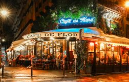 The famous cafe de Flore at rainy night, Paris, France. Stock Photo