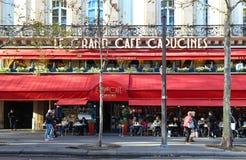 The famous cafe des Capucines on Grands boulevards, Paris, France. royalty free stock photos