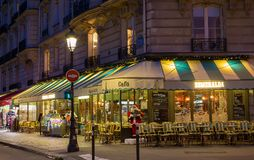 The famous cafe Esmeralda decorated for Christmas located near Notre Dame cathedral in Paris, France. Paris, France-December 17, 2017 : The famous cafe Royalty Free Stock Image