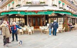 The famous cafe Les deux magots, Paris, France. Royalty Free Stock Photos