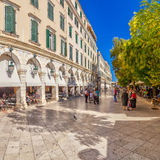 Famous cafes at building at Kapodistriou street Royalty Free Stock Image
