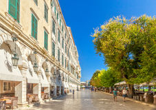 Famous cafes at building at Kapodistriou street Royalty Free Stock Images