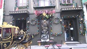 The famous cafeteria ``Little Kook`` with the special decoration all year round at Psyrri Athens Greece stock video footage