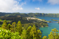 Famous caldera on Azores Royalty Free Stock Photos