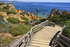 Famous Camilo Beach in Lagos, Algarve. Portugal. Royalty Free Stock Photography
