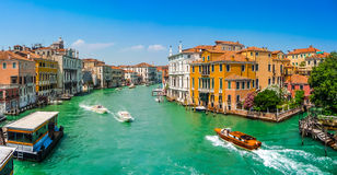 Famous Canal Grande with colorful houses in Venice, Italy Stock Images