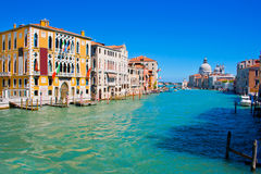 Famous Canal Grande in Venice, Italy. As seen from Ponte dell'Accademia Royalty Free Stock Photos